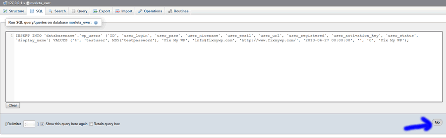 run sql query on phpmyadmin