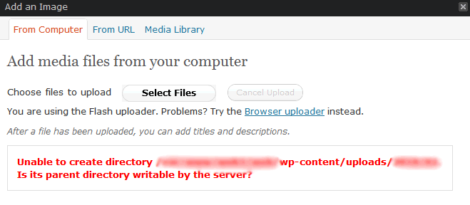 unable to create directory wordpress error while to upload an image
