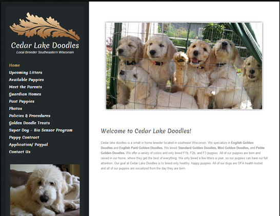 cedarlakedoodles.com homepage and order form fix
