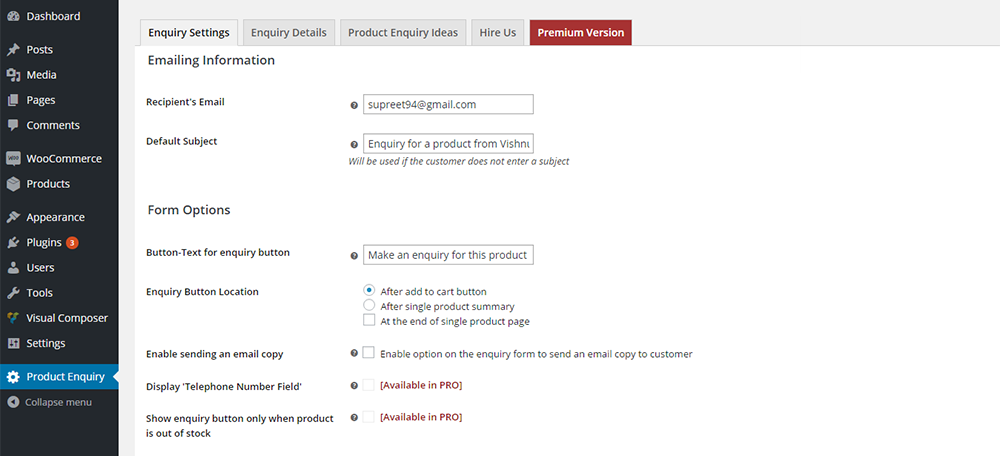 Product Enquiry Pro for WooCommerce Plugin