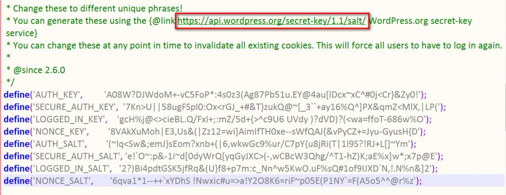 WordPress Salt Keys