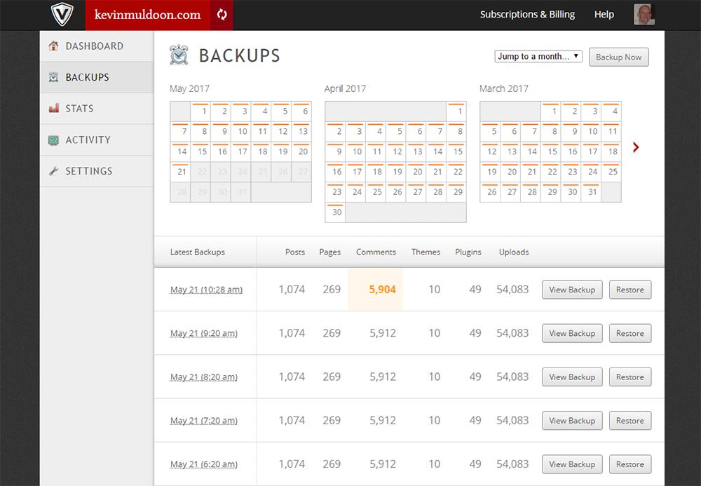 VaultPress Backups