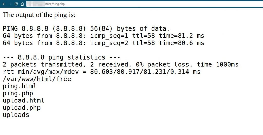 ping output from shell