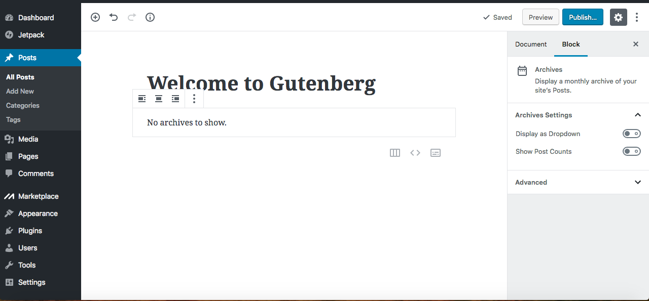 gutenberg editor archives