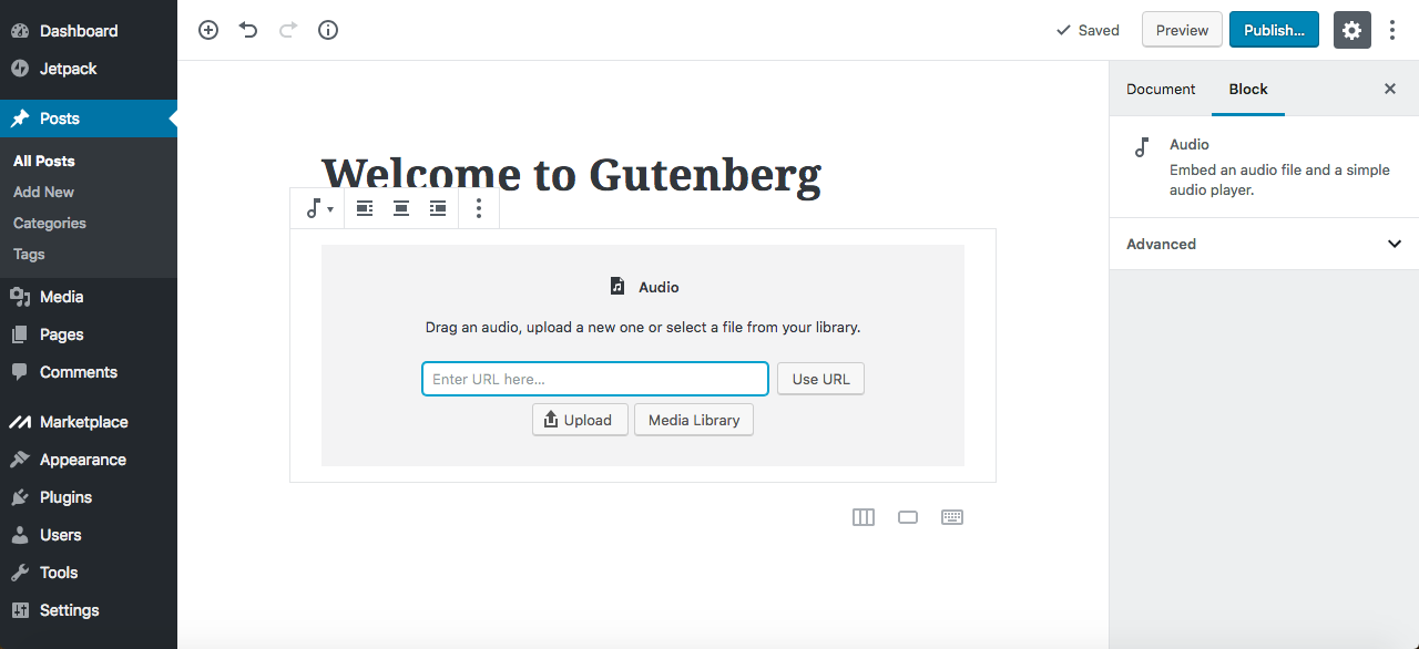 Gutenberg editor upload audio