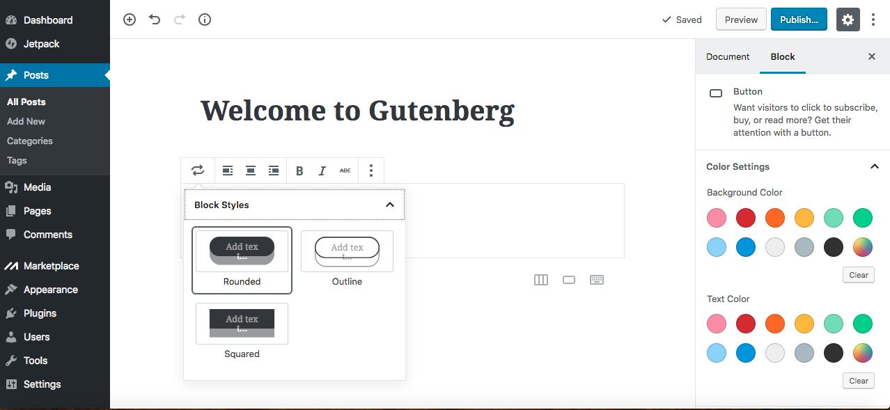 Gutenberg editor insert button