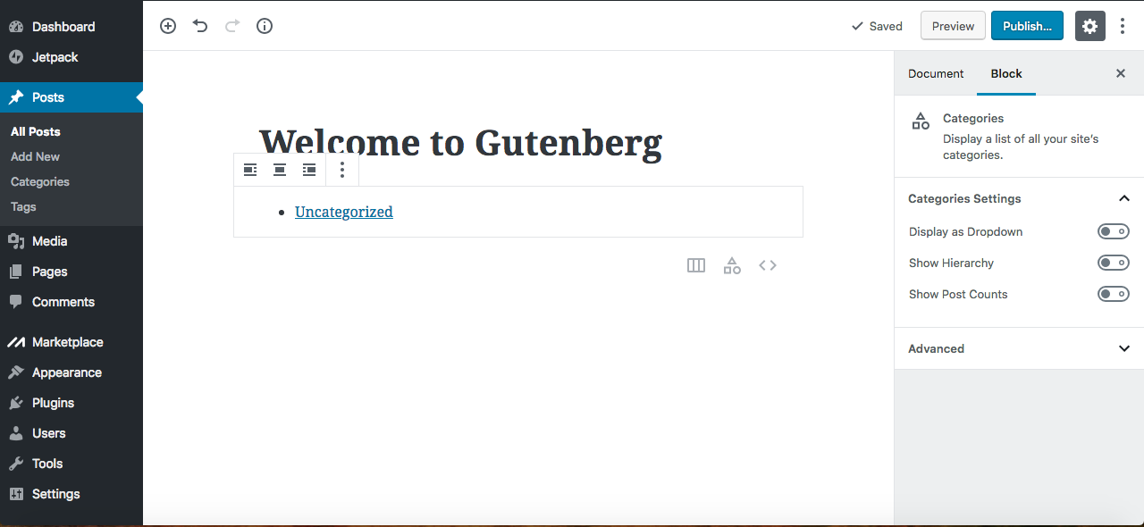 Gutenberg categories
