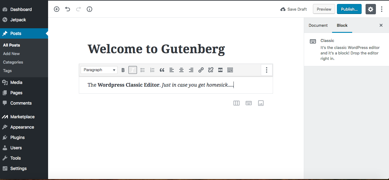 Gutenberg Classic WordPress editor block