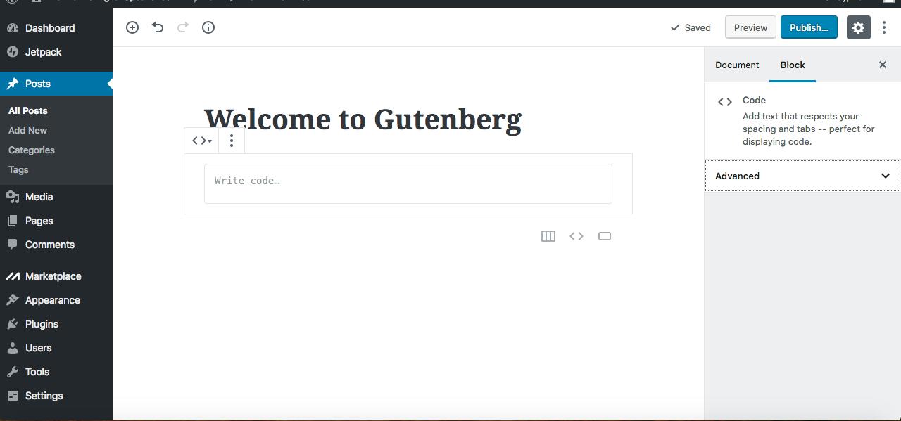 Gutenberg editor code block