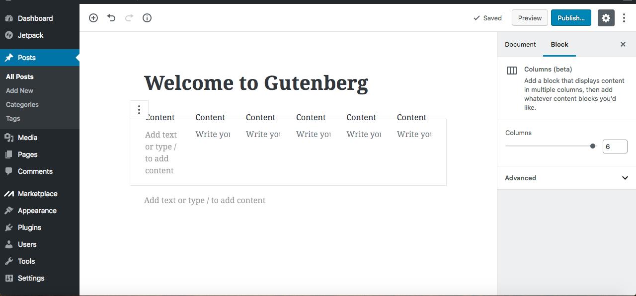 Gutenberg editor columns