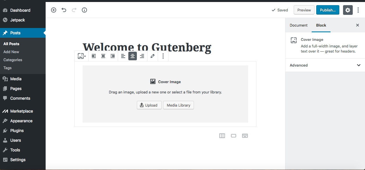 Gutenberg editor cover images