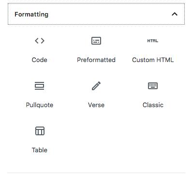 Gutenberg editor formatting