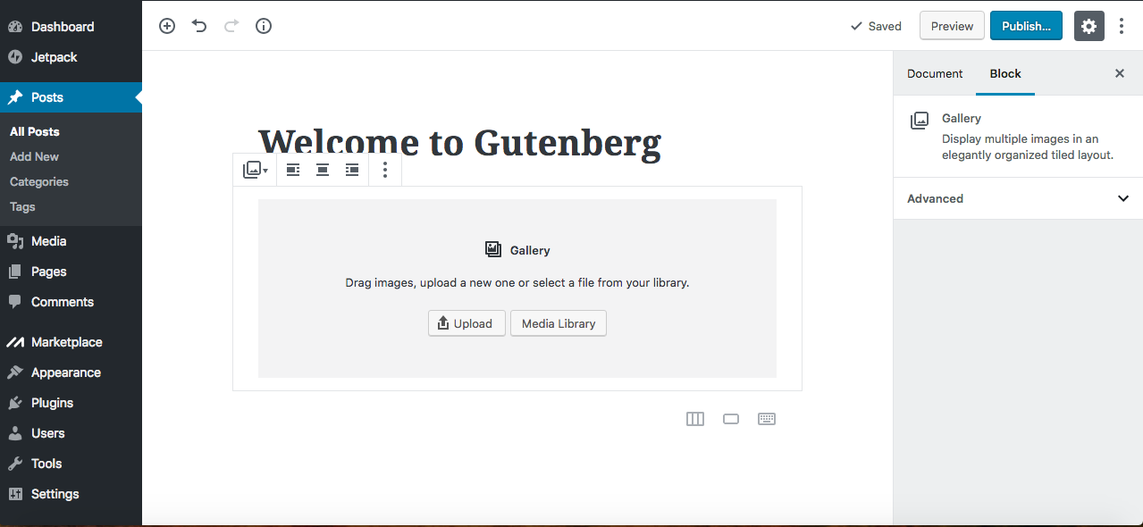 Gutenberg editor images