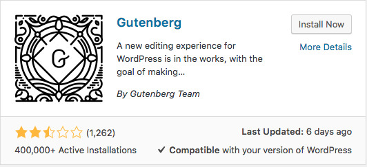 Gutenberg Plugin Install Now