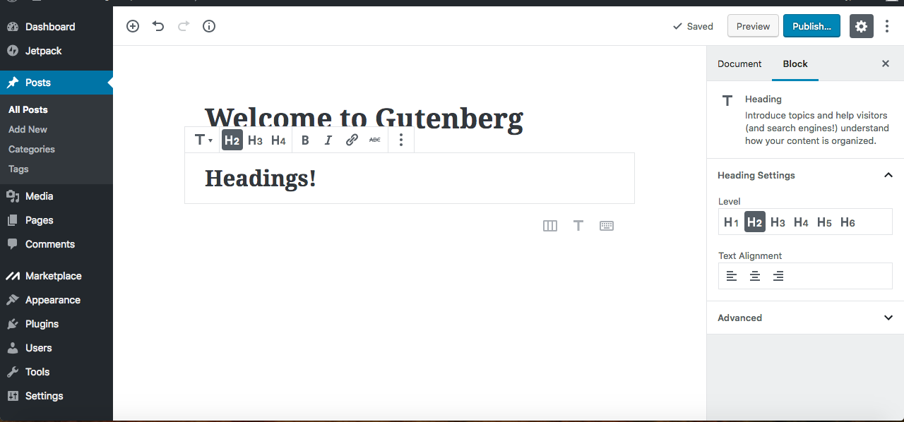 gutenberg editor headings