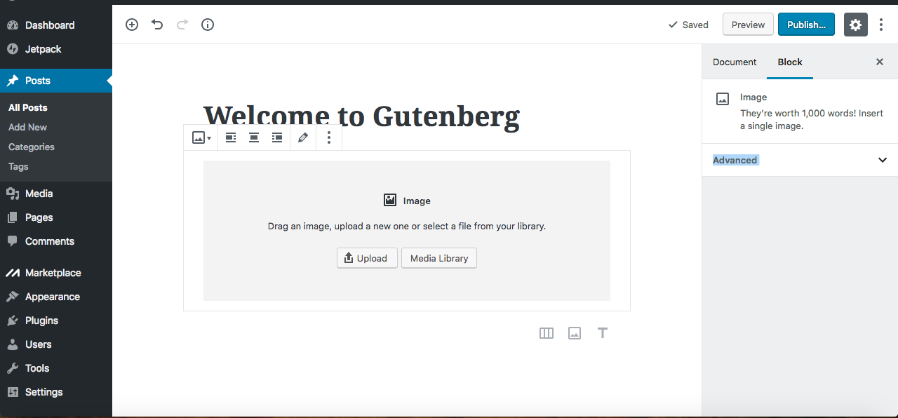 Gutenberg Editor upload media