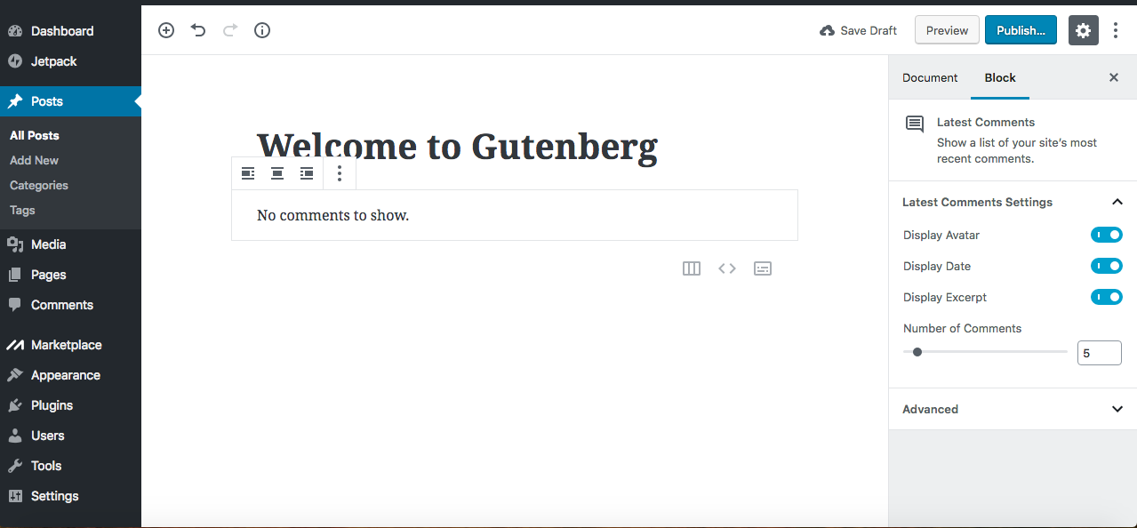 Gutenberg latest comments