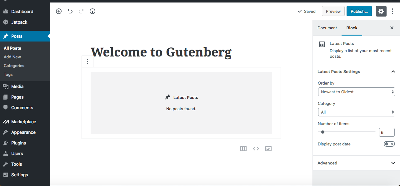 Gutenberg Latest Posts