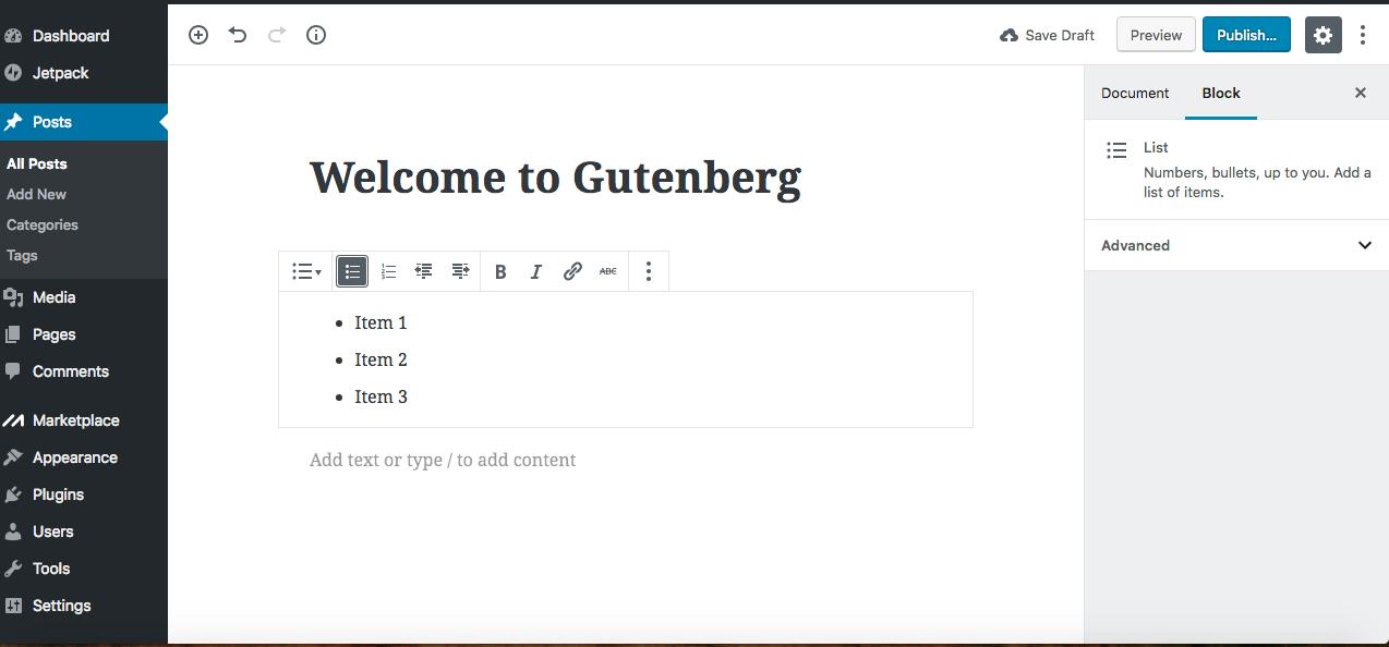 Gutenberg editor bullets