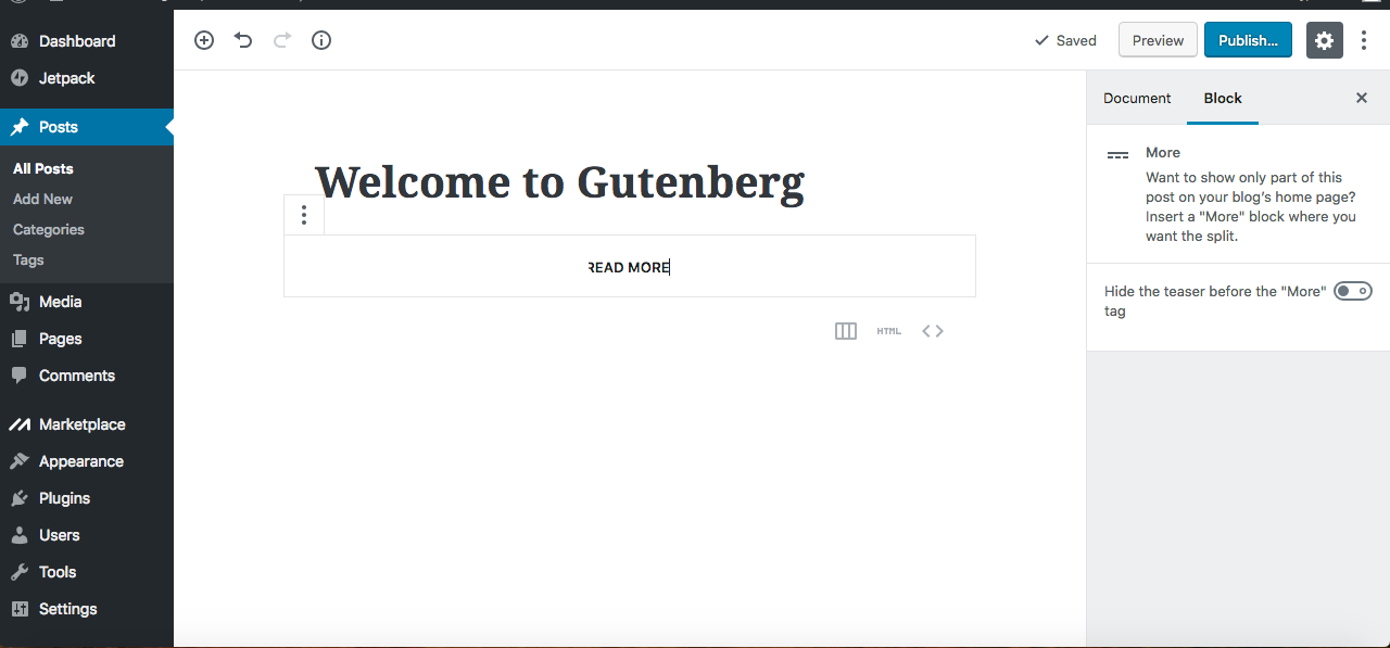 Gutenberg editor read more