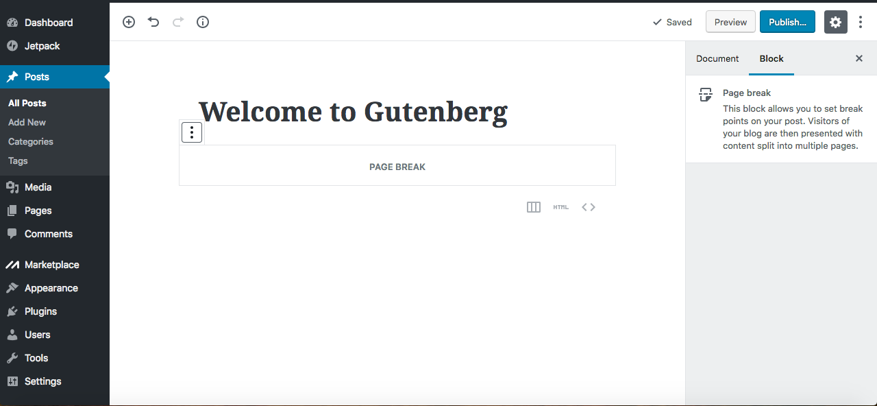 Gutenberg editor page break