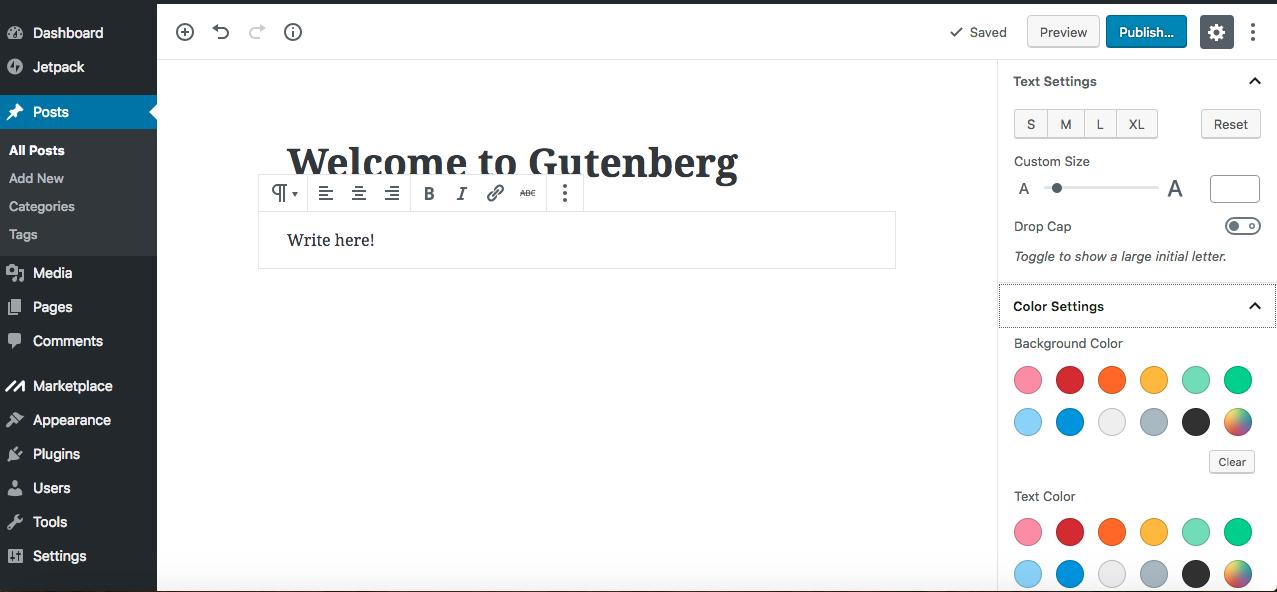 Gutenberg editor paragraph