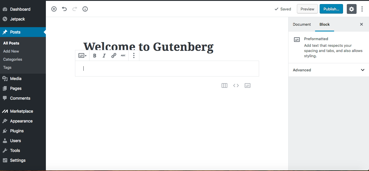 gutenberg editor preformatted text block