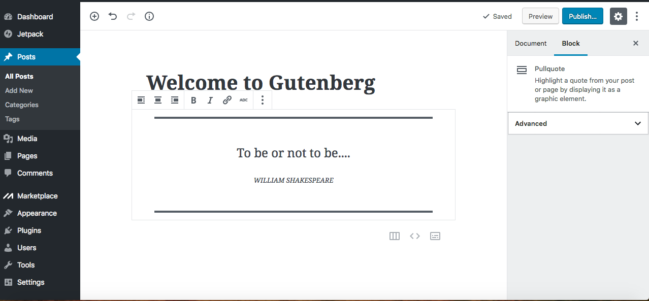 gutenberg editor pull quote