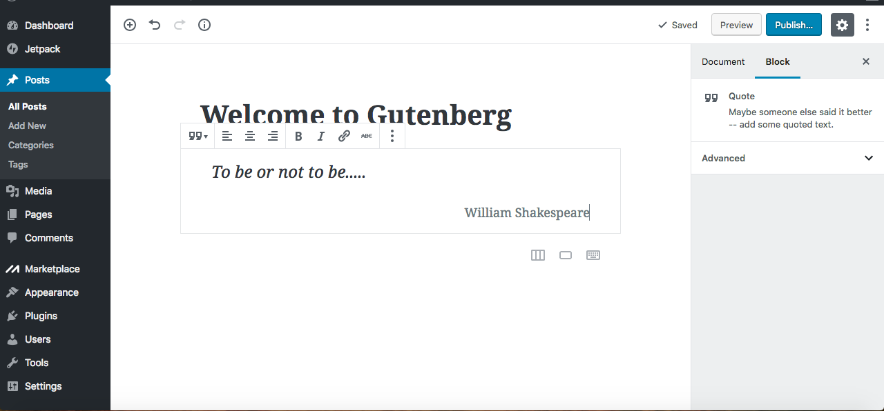 Gutenberg editor quote block