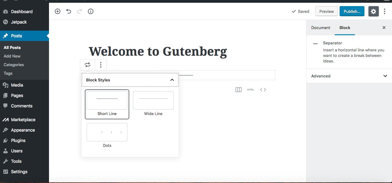 Gutenberg editor line separator