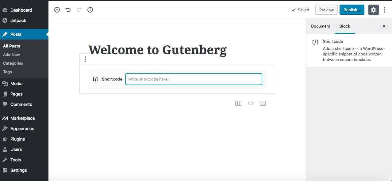 Gutenberg editor shortcode