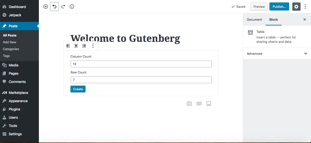 Gutenberg editor insert table