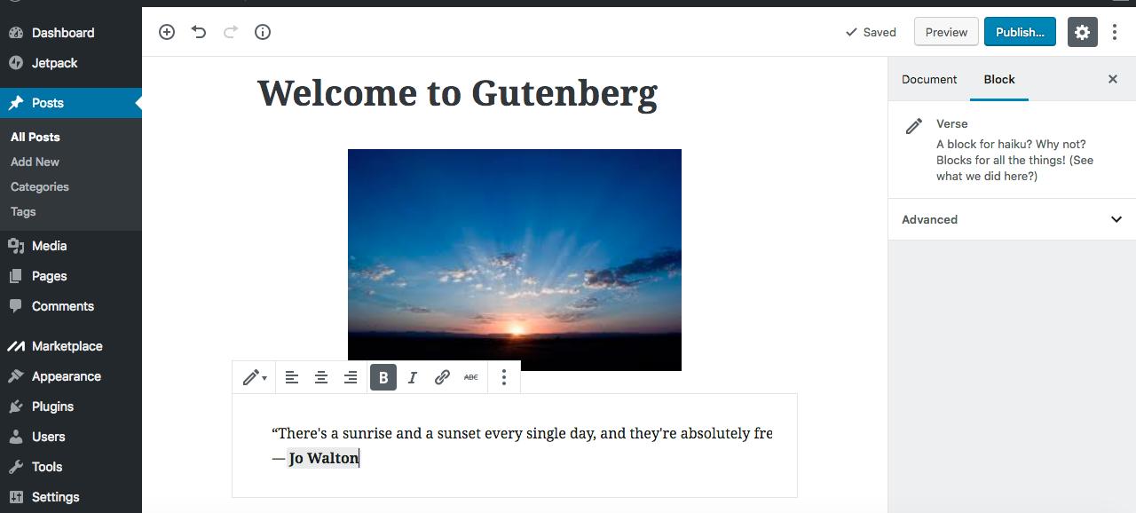Gutenberg editor insert verse