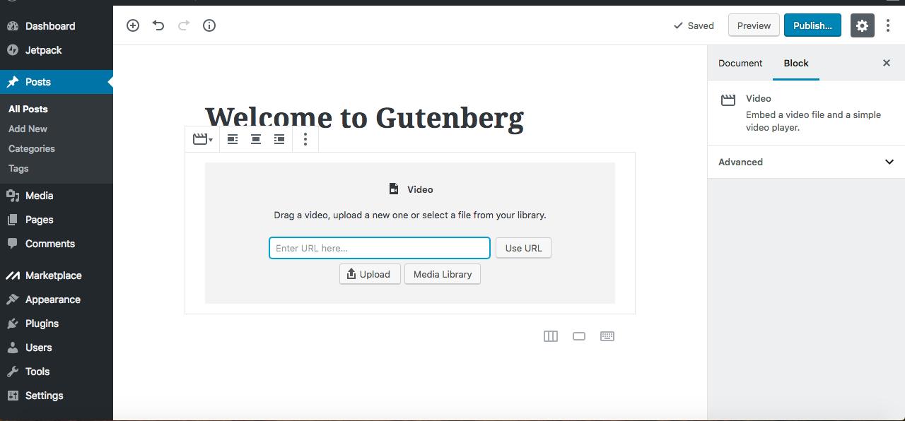 Gutenberg editor video